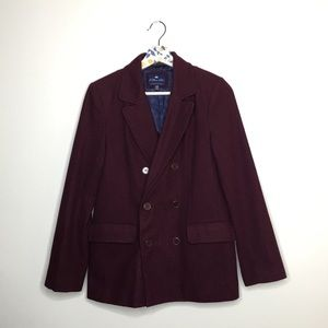 Forever21 Burgundy Heavy Winter Pea coat medium